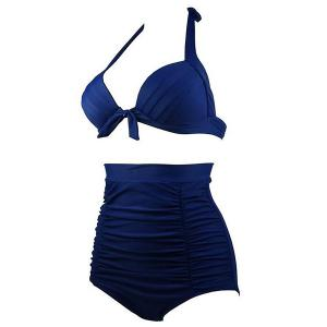 Ruched High Waisted Bikini With Halter Top - DEEP BLUE M
