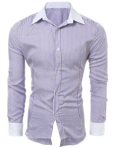 Fashion Casual Slim Fit Stripe Color Block Collar Long Sleeve Shirt For Men PURPLE M