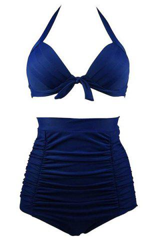 Outfit Ruched High Waisted Bikini With Halter Top - 2XL DEEP BLUE Mobile