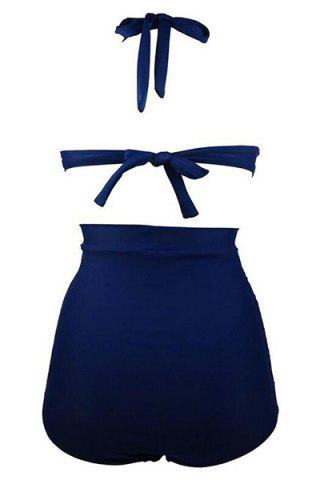 Discount Ruched High Waisted Bikini With Halter Top - 2XL DEEP BLUE Mobile