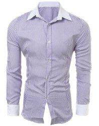 Casual Slim Fit Stripe Color Block Collar Long Sleeve Shirt For Men