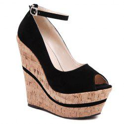 Stylish Peep Toe and Ankle Strap Design Wedge Shoes For Women -