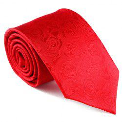 Stylish Flower Jacquard 8CM Width Wedding Red Tie For Men -