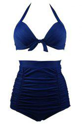 Ruched High Waisted Bikini With Halter Top - DEEP BLUE