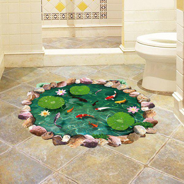 Fancy Special 3D Lotus Pond Design Sticker For Bathroom