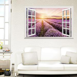SRural Sunrise 3D Faux Window Wall Sticker For Living Room - COLORMIX