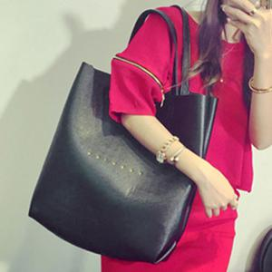 Trendy PU Leather and Word Print Design Shoulder Bag For Women -