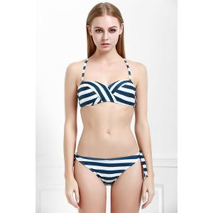 Sexy Halter Striped Bra and Low-Waist Tied Briefs Bikini Set For Women