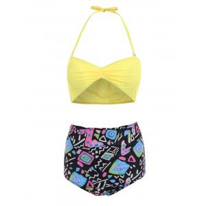 Active Yellow Bra and Printed High Waist Briefs Tankini For Women - Yellow - L