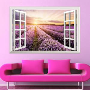 SRural Sunrise 3D Faux Window Wall Sticker For Living Room - Colormix - W71 Inch*l79 Inch
