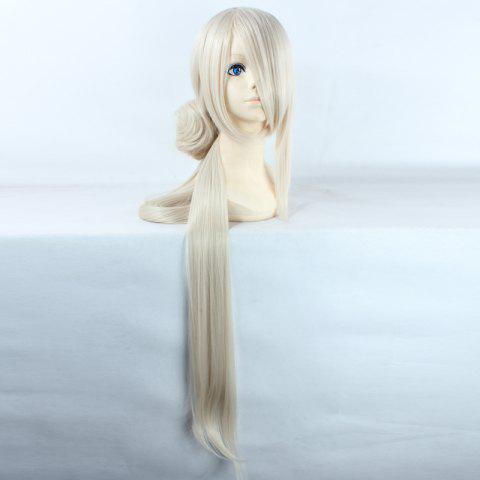 Online Noble Extra Long Synthetic Straight Ima No Tsurugi Cosplay Wig with Chignons OFF WHITE