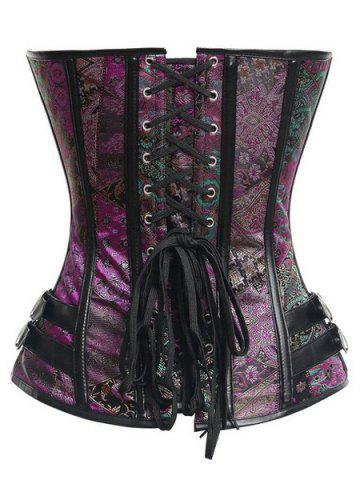 Chic Stylish Strapless Sleeveless Printed Lace-Up Corset For Women - M PURPLE Mobile