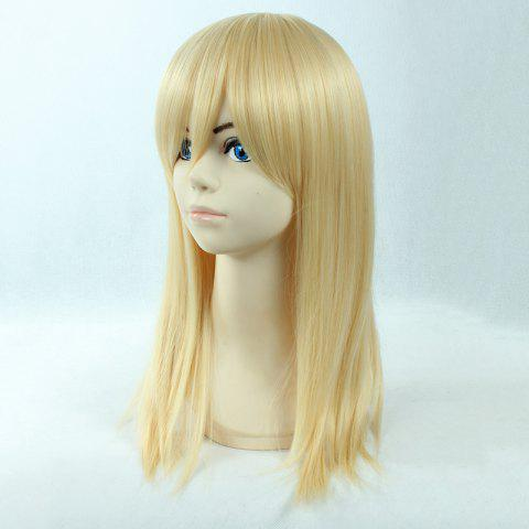 Unique Fashion Long Straight Synthetic Attractive Side Bang Light Blonde Christa Lenz Cosplay Wig - LIGHT GOLD  Mobile