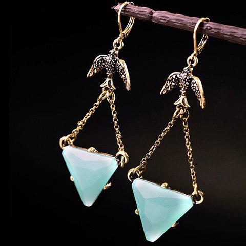 Hot Faux Gemstone Triangle Drop Earrings
