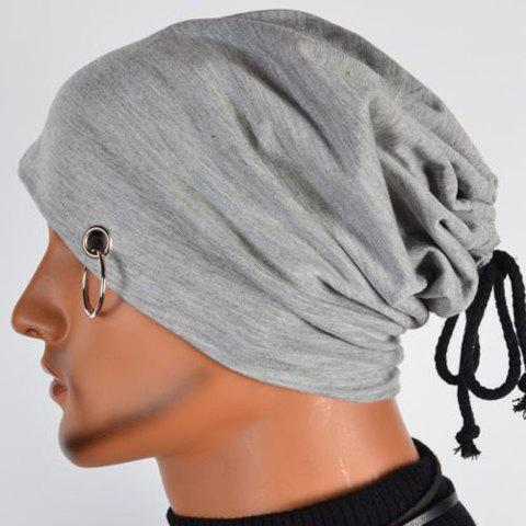New Hot Sale Lace-Up Ring Embellished Skullies Beanie For Men LIGHT GRAY