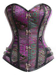 Stylish Strapless Sleeveless Printed Lace-Up Corset For Women - PURPLE