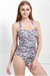 Charming Halter Multicolored Printed One-Piece Swimwear For Women -