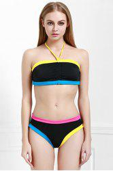Chic Strapless Hit Color Women's Bikini Set -