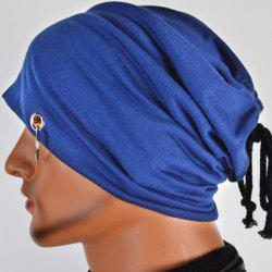 Hot Sale Lace-Up Ring Embellished Skullies Beanie For Men - CADETBLUE