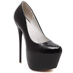 Sexy Stiletto Heel and Embossing Design Pumps For Women - BLACK