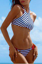 Stylish High Neck Striped Women's Bikini Set