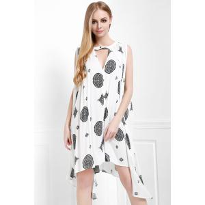 Keyhole Printed A Line Dress