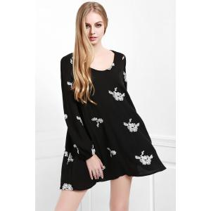 Fashionable V Neck Floral Embroidery Long Sleeve Dress For Women