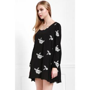 Fashionable V Neck Floral Embroidery Long Sleeve Dress For Women -