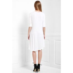 Scoop Neck Buttoned Tee Flowy Dress With Sleeves - WHITE S