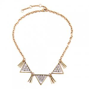 Vintage Rhinestone Hollow Out Triangle Shape Necklace