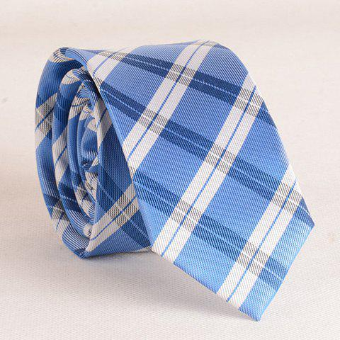 New Stylish Tartan Pattern White Matching Design 6CM Width Tie For Men BLUE