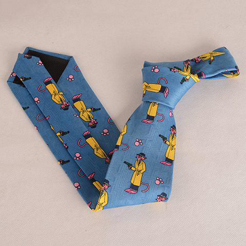 Fashion Stylish Pink Cartoon Lion and Handgun Pattern 9.5CM Width Tie For Men - BLUE  Mobile