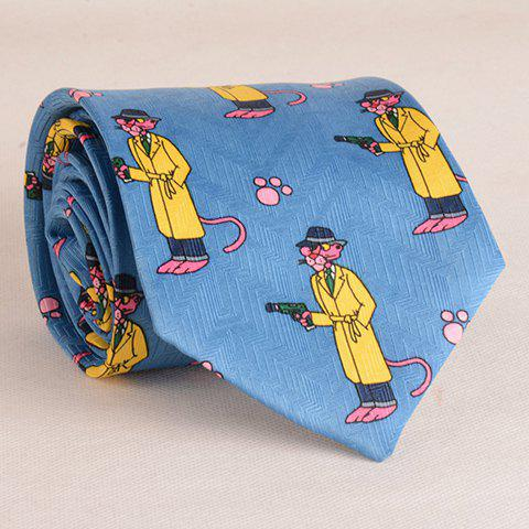 Affordable Stylish Pink Cartoon Lion and Handgun Pattern 9.5CM Width Tie For Men - BLUE  Mobile