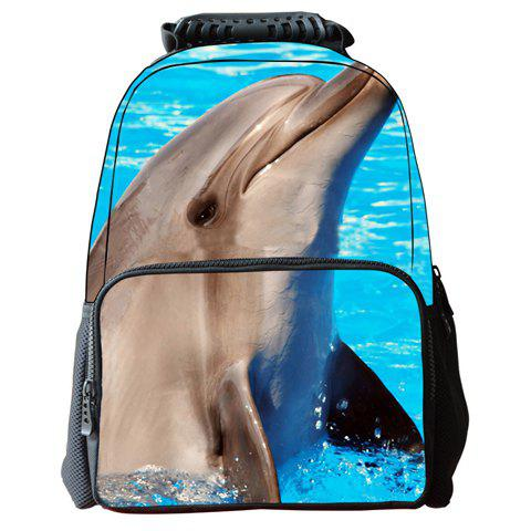 Fashion Cute Dolphin Pattern and Zip Design Backpack For Men