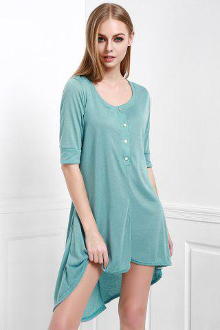 Best Scoop Neck Buttoned Tee Flowy Dress With Sleeves - M GREEN Mobile