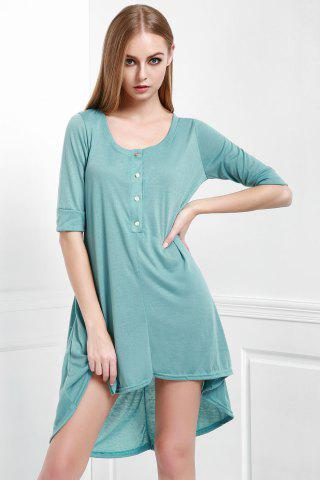 Shops Scoop Neck Buttoned Tee Flowy Dress With Sleeves - M GREEN Mobile