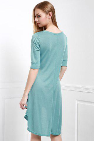 Lady Scoop Neck Buttoned Tee Flowy Dress With Sleeves - M GREEN Mobile