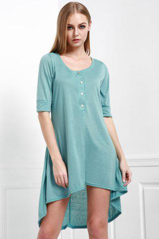 Outfit Scoop Neck Buttoned Tee Flowy Dress With Sleeves - M GREEN Mobile