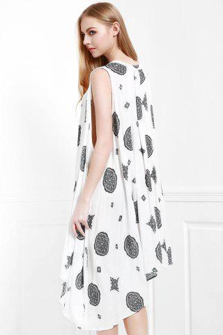 Discount Keyhole Printed A Line Dress - XS OFF-WHITE Mobile