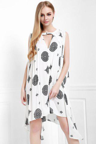 Store Keyhole Printed A Line Dress OFF WHITE XS