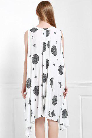 Outfits Keyhole Printed A Line Dress - XS OFF-WHITE Mobile