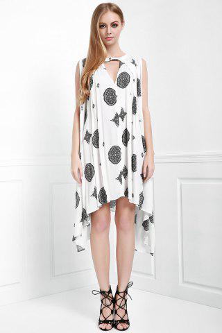 Buy Keyhole Printed A Line Dress - XS OFF-WHITE Mobile