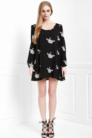 Lady Fashionable V Neck Floral Embroidery Long Sleeve Dress For Women - M BLACK Mobile