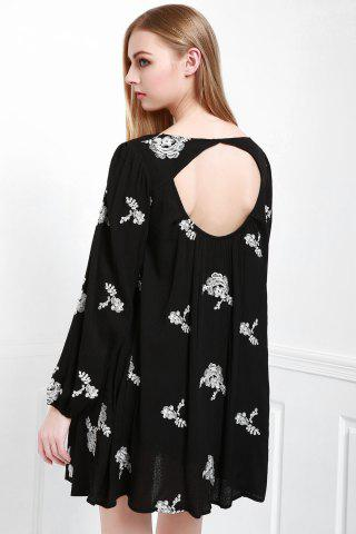 Sale Fashionable V Neck Floral Embroidery Long Sleeve Dress For Women - M BLACK Mobile