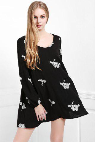Lady Fashionable V Neck Floral Embroidery Long Sleeve Dress For Women - L BLACK Mobile