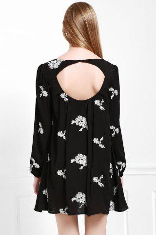 Ladies Fashionable V Neck Floral Embroidery Long Sleeve Dress For Women - L BLACK Mobile