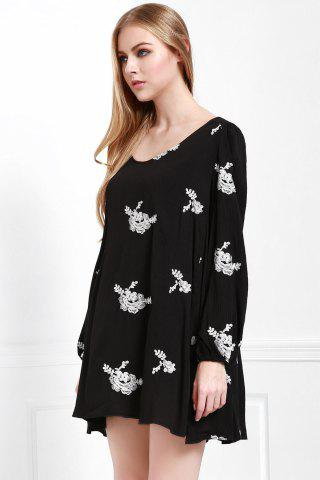 Sale Fashionable V Neck Floral Embroidery Long Sleeve Dress For Women - L BLACK Mobile