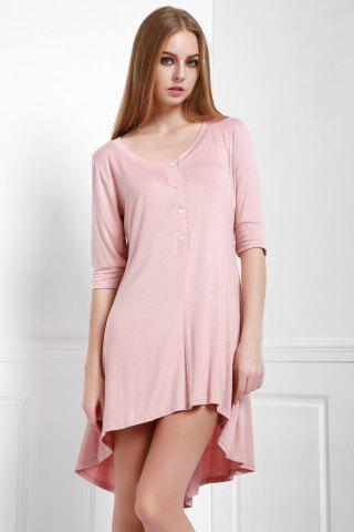 Best Scoop Neck Buttoned Tee Flowy Dress With Sleeves