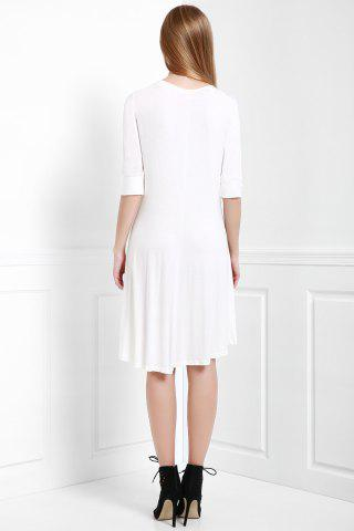 Best Scoop Neck Buttoned Tee Flowy Dress With Sleeves - S WHITE Mobile