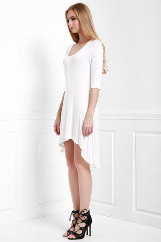 Buy Scoop Neck Buttoned Tee Flowy Dress With Sleeves - S WHITE Mobile